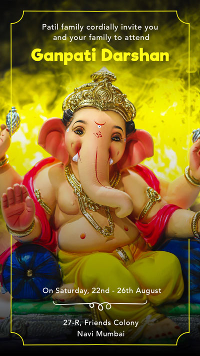 Yellow Ganpati Invitation